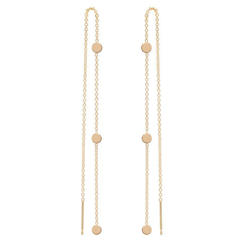 Zoë Chicco 14k Itty Bitty 3 Round Disc Threader Earrings
