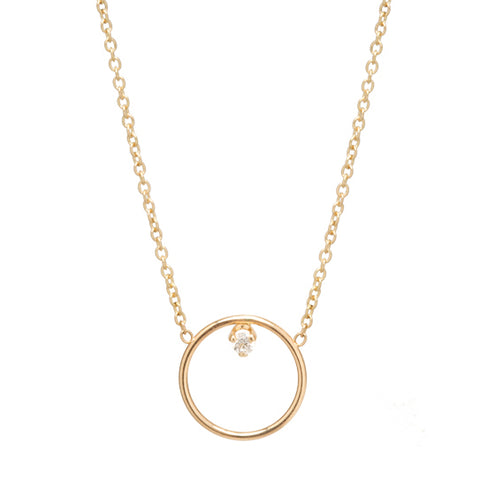 Zoë Chicco Medium Open Circle Single Prong Diamond Necklace 14K Yellow