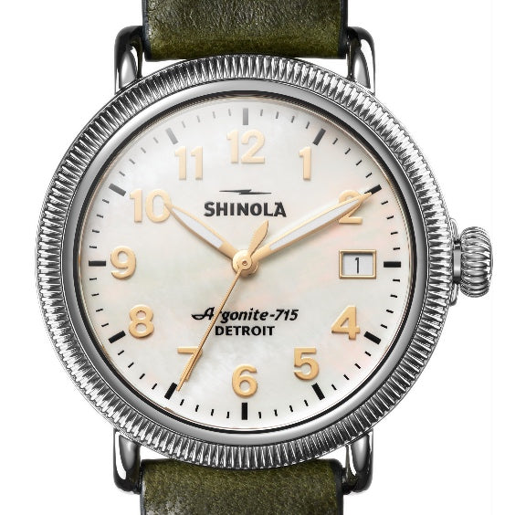 Shinola 38MM Spruce Leather Coin Edge Runwell Watch S0120109232