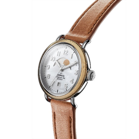 Shinola 38MM Coin Edge Runwell Moon Phase Watch S0120109235