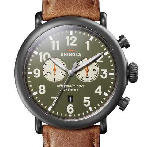 Shinola 47MM Mens Runwell Chrono with Green Dial S0120109237