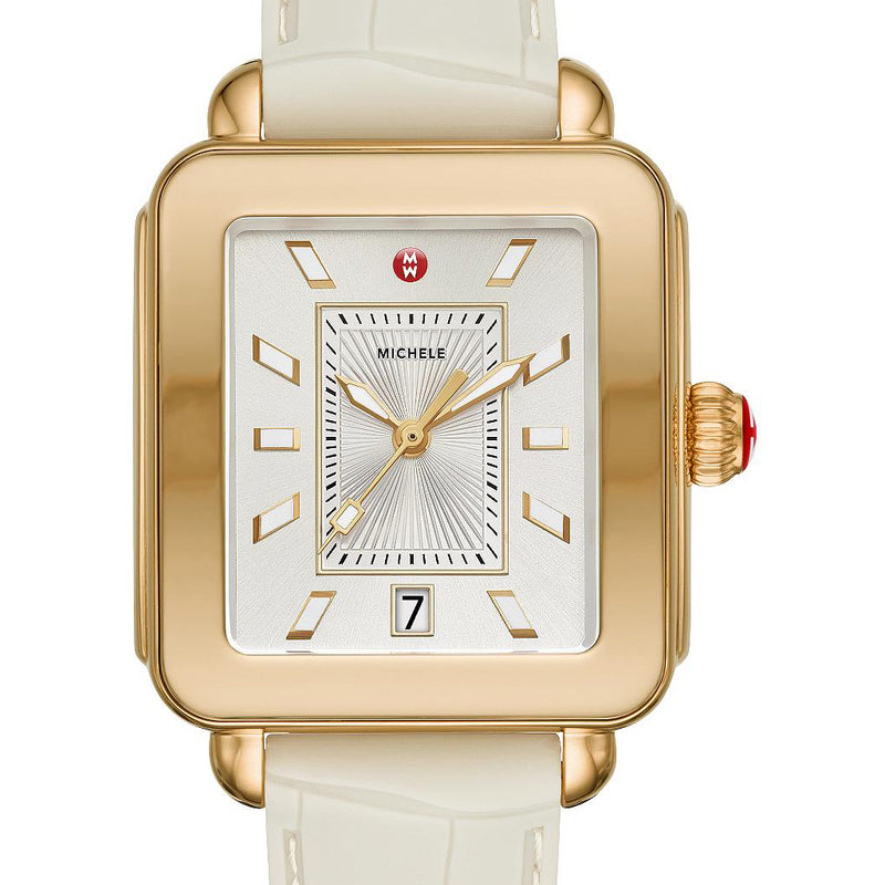 Michele Deco Sport Gold Tone- Vanilla Embossed Silicone Watch