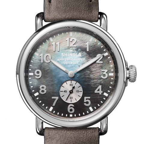 Shinola Runwell Watch with a 41MM Grey Mother of Pearl Dial 0120109243