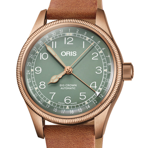 Oris 36MM Big Crown Pointer Date Automatic Green Dial Bronze Case Watch