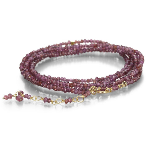 "Anne Sportun Red Garnet Beaded Wrap Bracelet & Necklace 34"" B098G-RD-GARN"