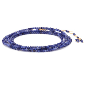 "Anne Sportun Sodalite Blue Beaded Wrap Bracelet & Necklace 34"" B098G-SOD"