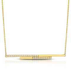 Doves Linear Horizontal Diamond Line Pendant Necklace in 18K Yellow Gold