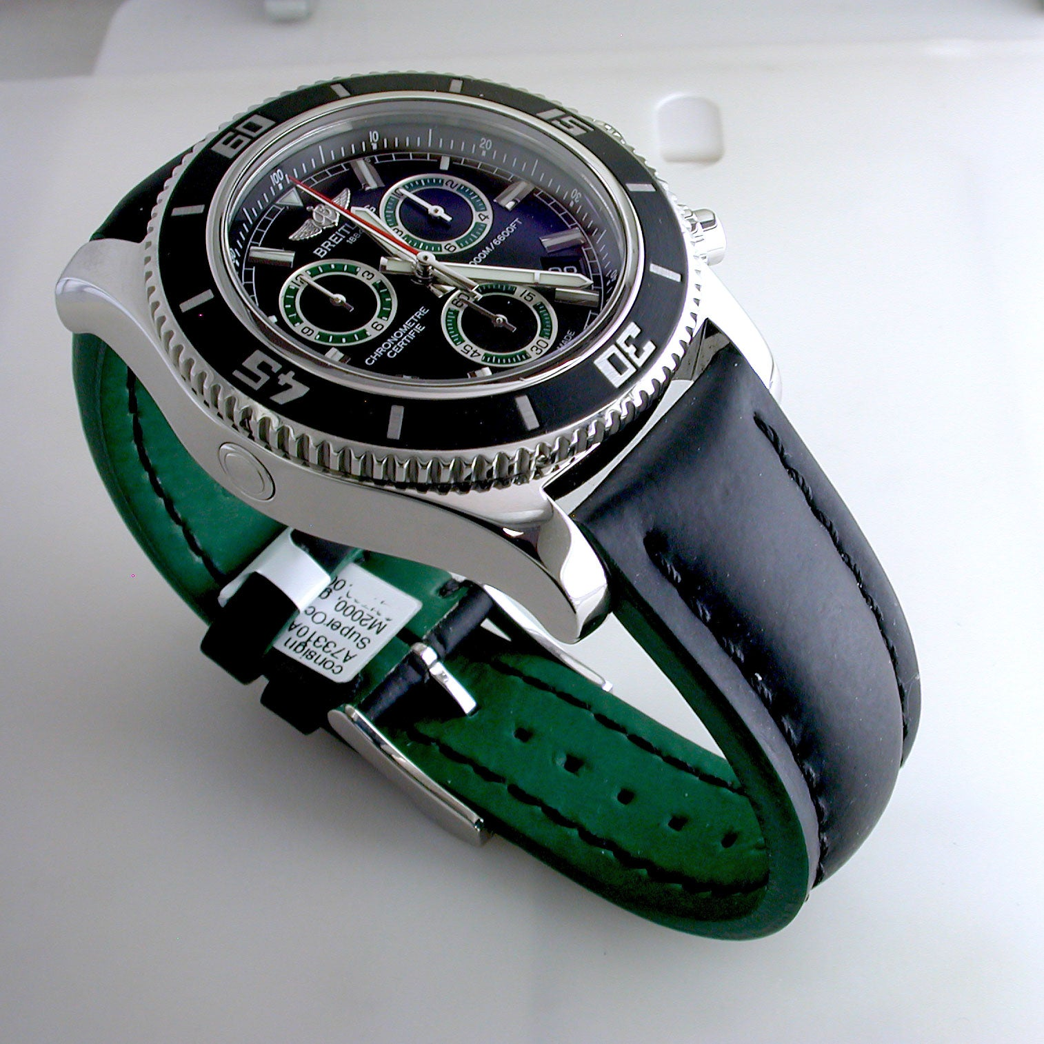 Certified Pre-Owned Breitling Superocean Chronograph Steel Black Green M2000 A73310A8/BB75