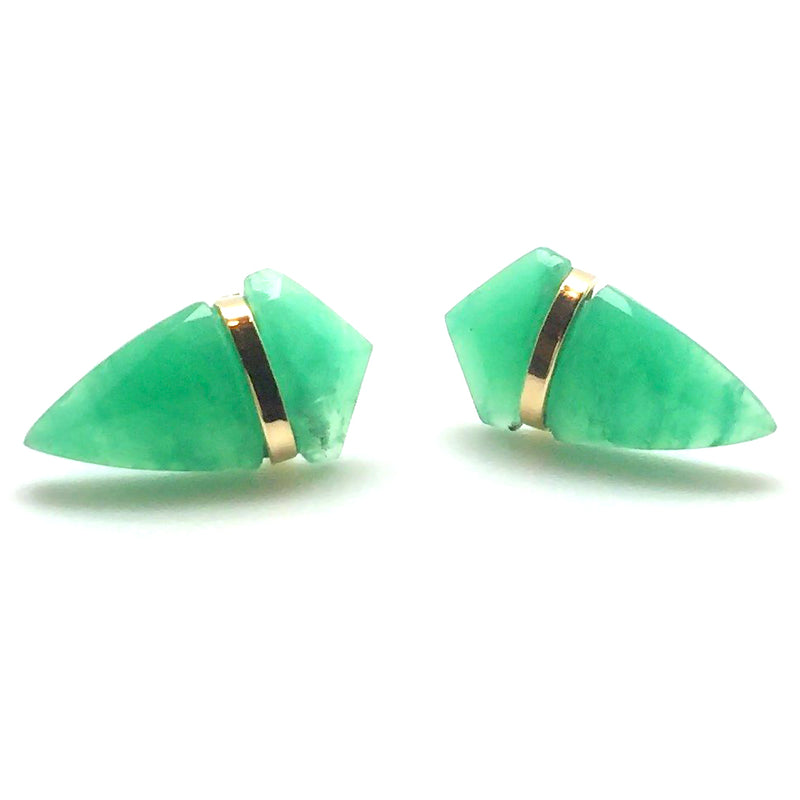 Page Sargisson Large Green Chrysoprase Handmade Stud Earrings