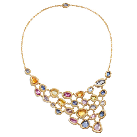 Page Sargisson 18 Karat Gold Bib Necklace with Blue and Multicolored Sapphires 40 carats