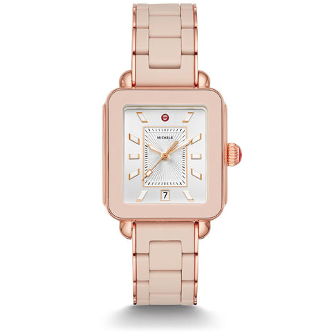 Michele Deco Sport Pink Gold Desert Rose Wrapped Silicone Watch MWW06K000018