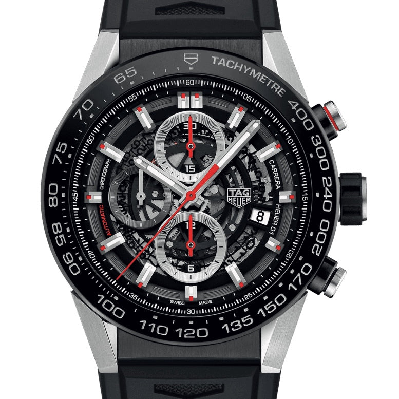 TAG Heuer 45MM Carrera 01 Automatic Skeleton Chronograph Black Watch CAR2A1Z.FT6044