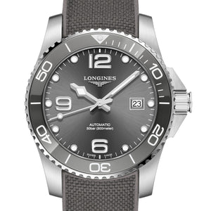 Longines Hydroconquest Ceramic Bezel 41mm Grey Steel Rubber Watch L37814769