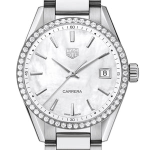 TAG Heuer 36MM Carrera Quartz Mother of Pearl Diamond Bezel Watch WBK1316.BA0652