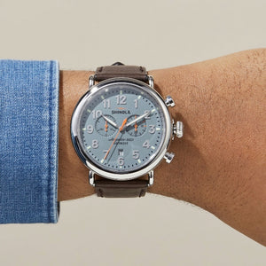 Shinola 47MM Runwell Slate Blue Dial Brown Leather Watch S0110000167