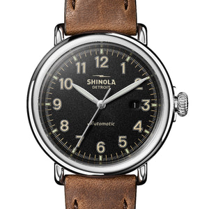 Shinola 45MM Runwell Automatic Black Dial Tan Leather Watch S0120141490