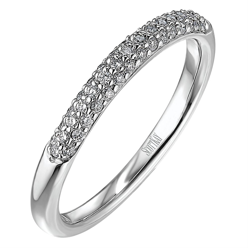 Scott Kay Diamond Three Row Wedding Band Ring Partial 19K White Gold