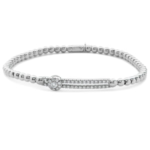 Hulchi Belluni Fidget Bracelet Single Pave Diamond Station White Gold