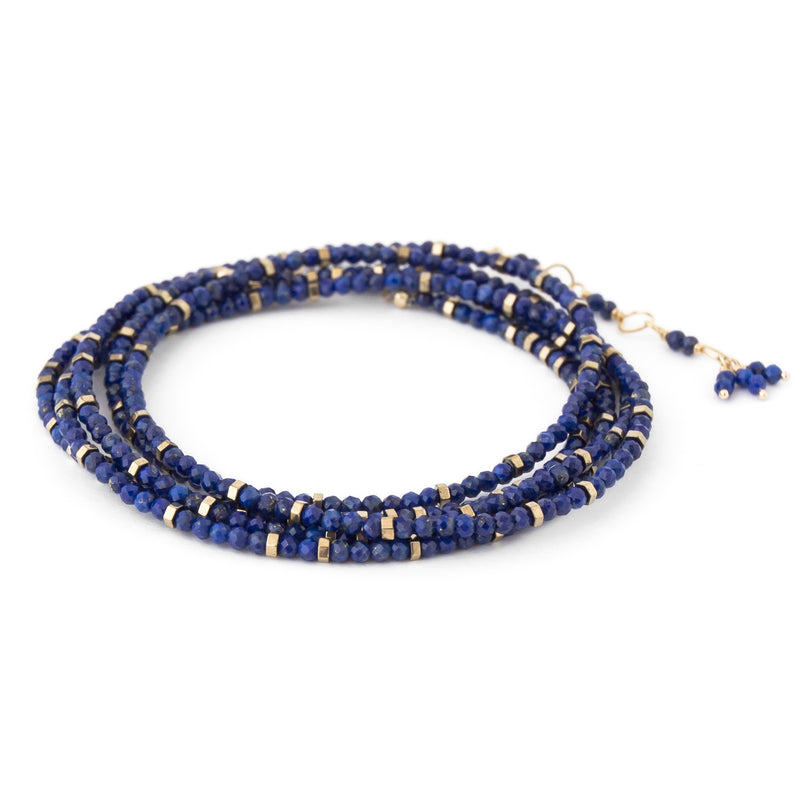 Anne Sportun Blue Lapis Beaded Confetti Wrap Bracelet & Necklace 34