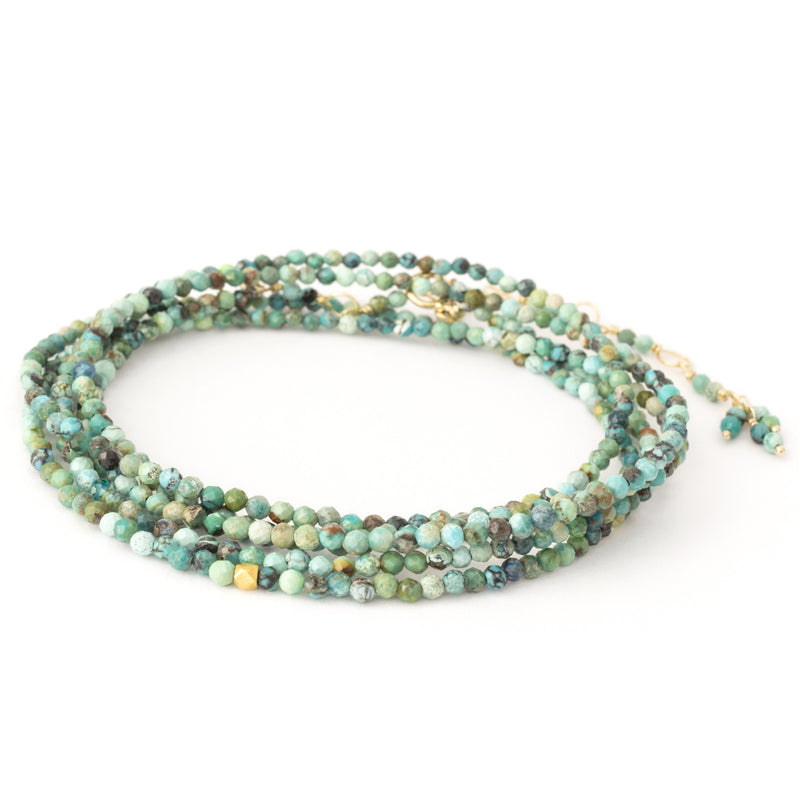 Anne Sportun Turquoise Confetti Beaded Wrap Bracelet & Necklace 34