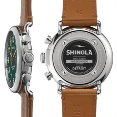Shinola Runwell Chronograph Green Dial Brown Leather 47mm Men's Watch S0110000050