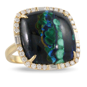 Doves Azurite Malachite Ring 18K Yellow Gold with Diamonds Terra R8548AMC