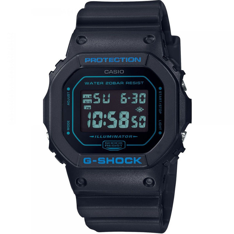 CASIO G-SHOCK DW5600BBM-1 Matte Black Blue Tint Reverse Watch