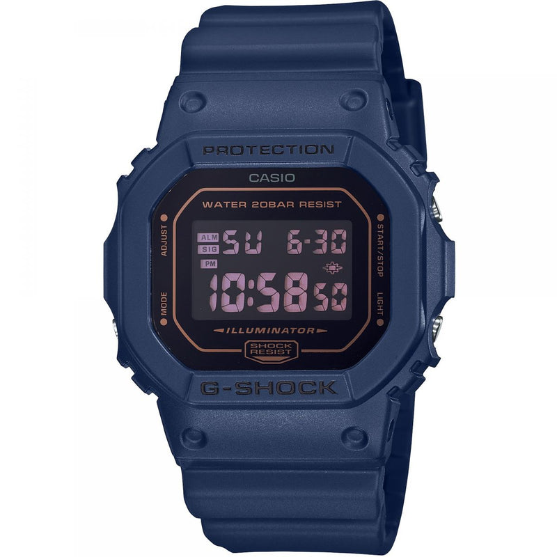 CASIO G-SHOCK DW5600BBM-2 Navy Blue Orange Tint Reverse Watch