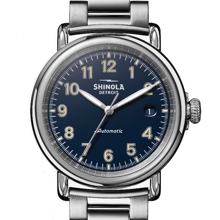 Shinola 39.5MM Runwell Automatic Midnight Blue Stainless Watch S0120141489