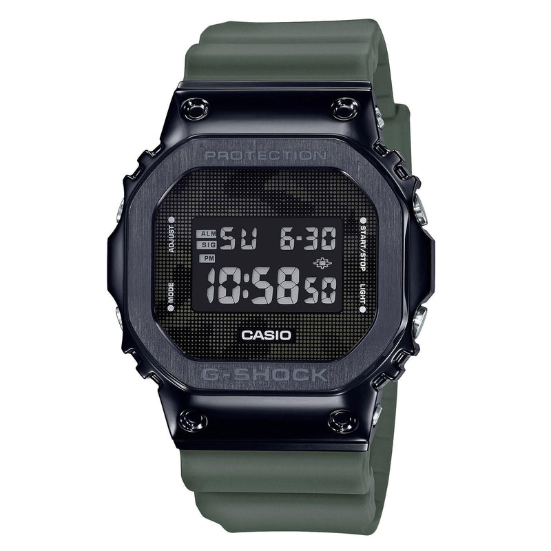 Casio G-Shock GM5600B-3 Olive Green Camo Metal Bezel Square Watch