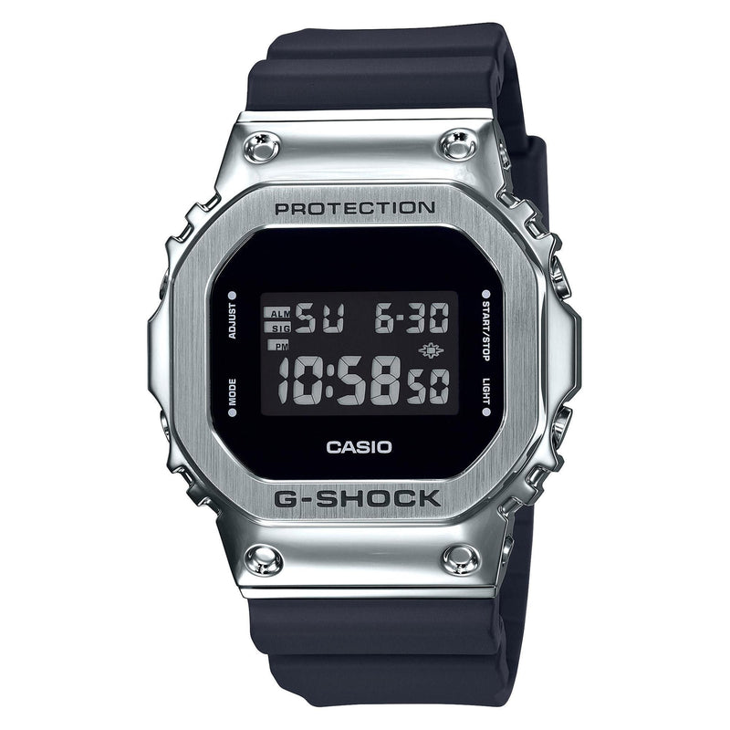 Casio G-Shock GM5600-1 Black Silver Steel Metal Bezel Square Watch