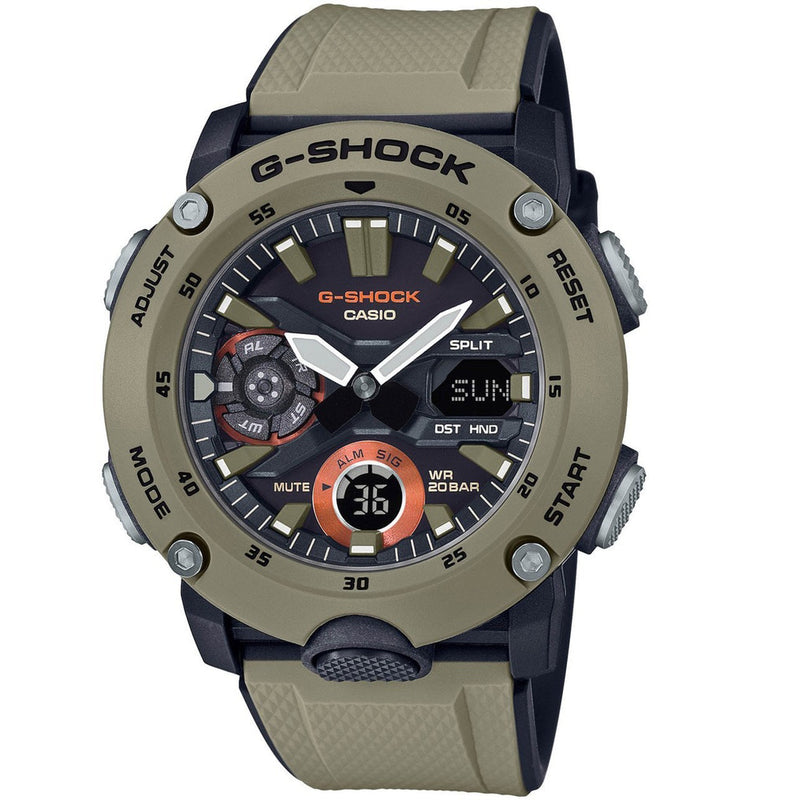 Casio G-Shock GA-2000-5A Carbon Core Ultility Army Tan Desert Watch