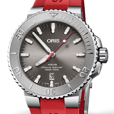 Oris 43.5MM Aquis Date Relief Grey Dial Red Rubber Watch 01 733 7730 4153-07 4 24 66EB