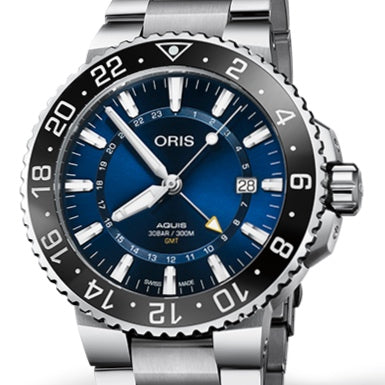 Oris 43.5MM Aquis GMT Date Blue Dial Stainless Steel Watch 01 798 7754 4135-07 8 24 05PEB
