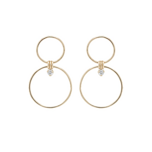 Zoë Chicco 14k Mixed Circle Hoop Drop Earrings with Diamonds