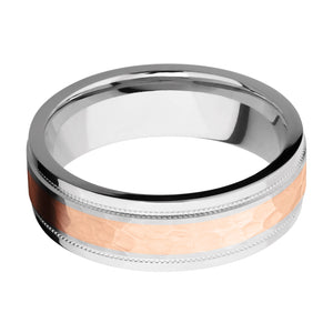 Lashbrook 7.5MM Cobalt Chome Wedding Band with a 14k Rose Gold Inlay