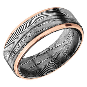 Lashbrook 8MM TightWeave Damascus Wedding Band with Rose Gold Edge