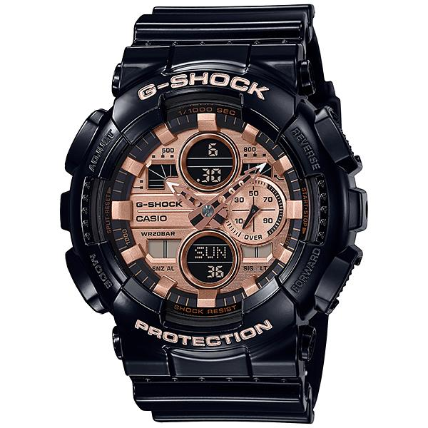 Casio G-Shock Garish Glossy Black Watch Rose Gold Metallic GA-140GB-1A2