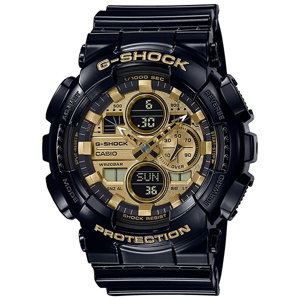 Casio G-Shock Garish Glossy Black Watch Yellow Gold Metallic GA140GB-1A1
