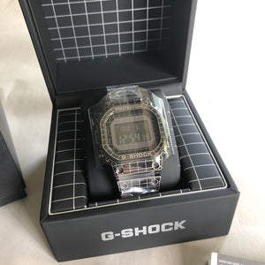 CASIO G-Shock Full Metal Square GMW-B5000CS-1 Laser Etched Grid Solar Watch box