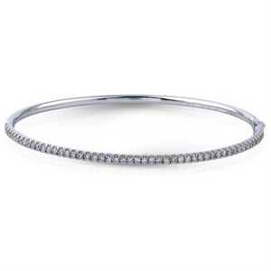 Simon G. Diamond Tennis Bracelet Bangle 18K White Gold .84 Carats MB1432