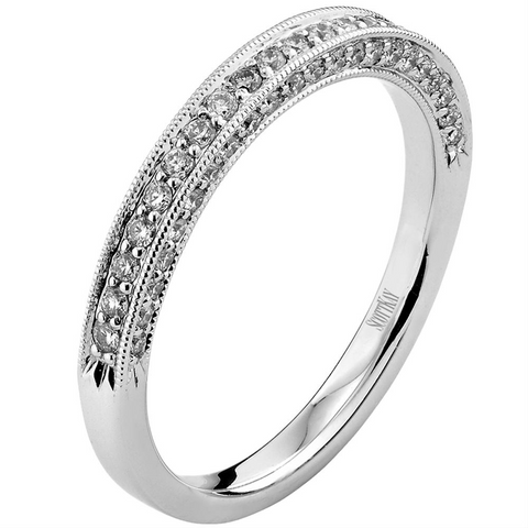 Scott Kay Diamond Wedding Band Ring Three Sided 14K White Gold
