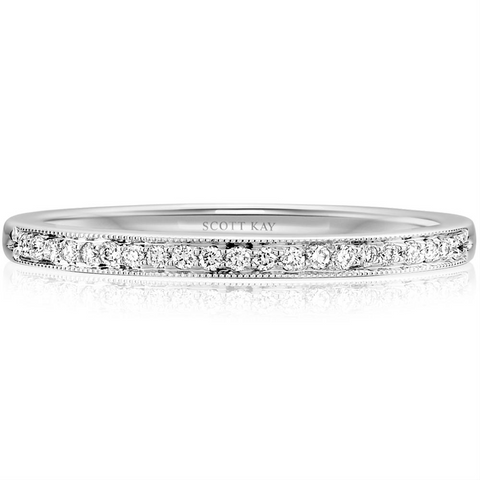 Scott Kay Milgrain Thin Narrow Diamond Wedding Band Ring 19K White Gold