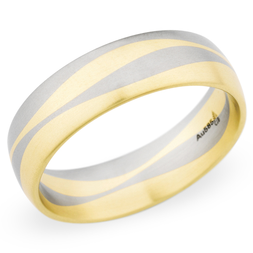 Christian Bauer Men's White & Yellow Gold Swirl Brushed Band 14K 6.5mm