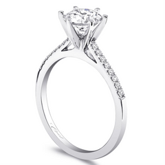 Round Diamond 18K White Gold Engagement Ring Romance Collection