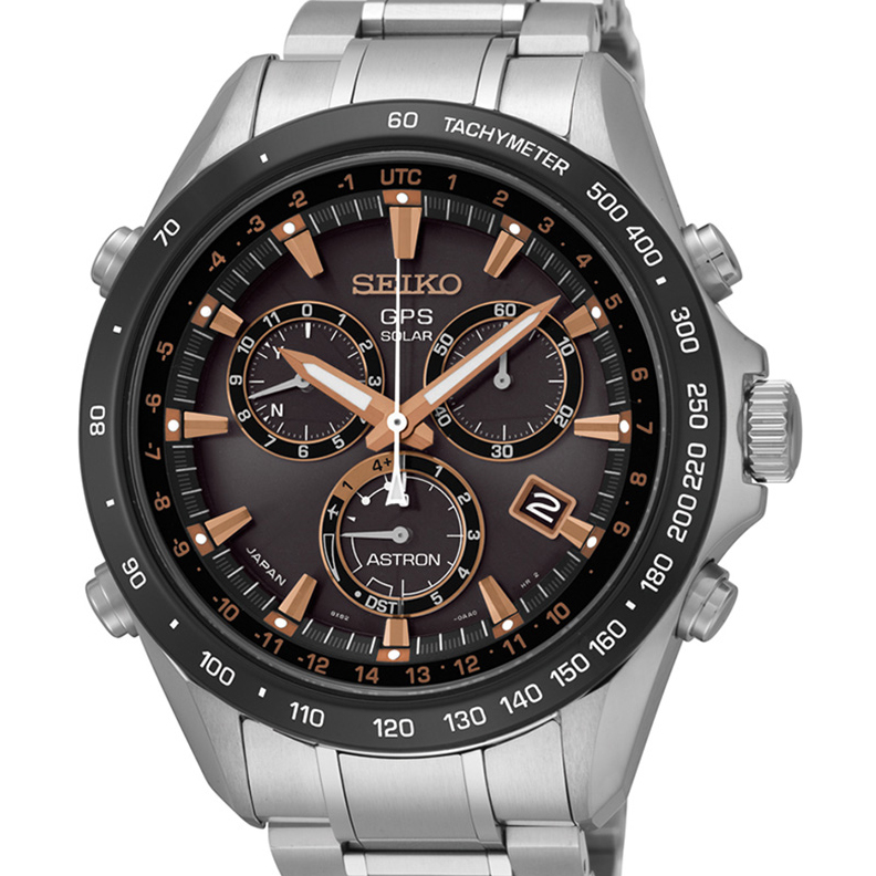 Seiko Astron GPS Solar 44.6mm Watch Stainless Steel with Rose Gold & Ceramic Bezel Black Dial Series 8X82 SSE033