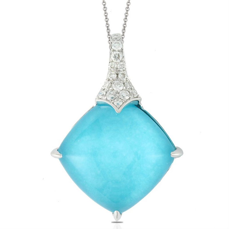 "Doves ""St Barth's Blue"" Turquoise & Diamond Square Pendant Necklace White Gold"
