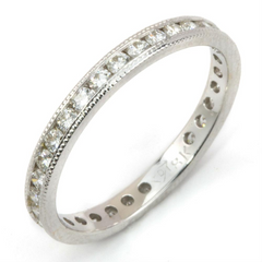 Round Diamond Channel Set Eternity Band Anniversary Ring with Milgrain Edges 18K