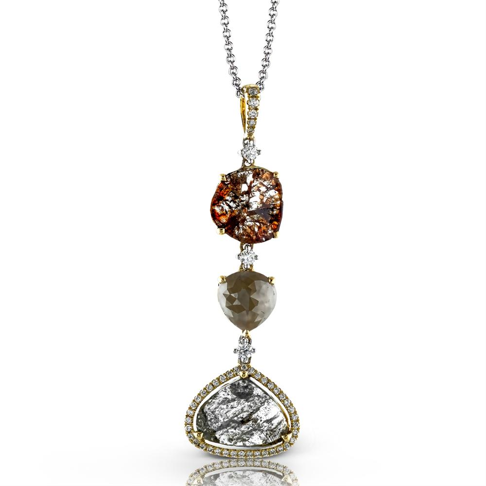 Simon G. Nature's Prime Rose & Tablet Cut Grey & Reddish-Brown Diamond Pendant MP1716