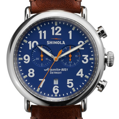Shinola 47mm Gents Runwell Royal Blue Dial Brown Leather Watch 10000047